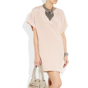 ACNE Uniform Short Contrast pink silk shift dress